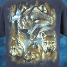 vintage 90s TIMBER WOLF CUBS NATURE T-Shirt LARGE wild animal gray super soft