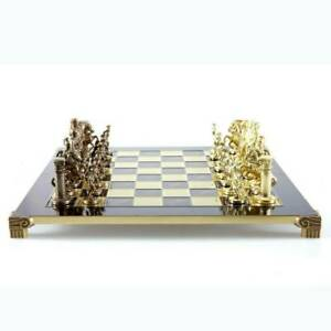Manopoulos Greek Roman Army Large Chess Set - Brass Copper Pawns - Red Board