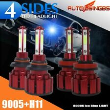 4PCS 9005+H11 4-Sides LED Headlight Kit High Low Beam Bulbs ICE BLUE 120W 8000K