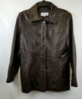 Calvin Klein Womens Jacket Brown Leather Zip Snaps Pockets Lined Size L
