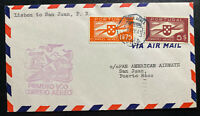 1941 Lisbon Portugal First Flight Airmail Cover FFC To San Juan Puerto Rico