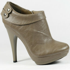 Taupe Gray Faux Leather High Stiletto Heel Fashion Ankle Boot 8 us Liliana