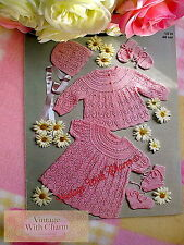 Vintage 1970s Knitting Pattern Baby Girls Dress Coat Etc.. to Fit 18in Chest.