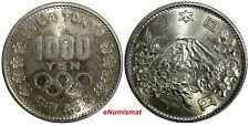 JAPAN Silver Year 39 1964 1000 Yen Summer Olympics, Tokyo Nice Toned Y# 80