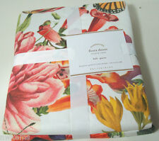 Pottery Barn Floral Flowers Butterfly Flora Cotton Full Queen Duvet Cover New