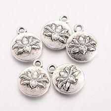 10 Tibetan Silver Lotus Flower Pendant Charms