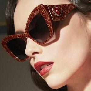 🌸NWT Dolce & Gabbana Cat Eye Red Heart Oversized Sunglasses in Case & Box NEW