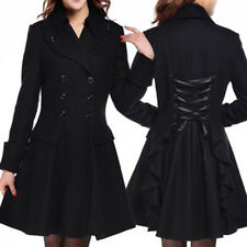 Gothic Women's Ladies Plus Asymmetrical Hem Flare Coat Long Jacket Lapel Ruffle