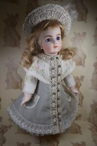 """Silk & Lace Coat Dress & Hat for 18""""(46cm) Antique or Reproduction Doll."""