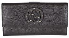 New Gucci 231843 Brown Textured Leather Interlocking GG Studded Wallet Clutch