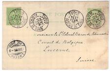 1900 FRANCE TUNISIA Postal Stationery postcard 5c + 5c, to Lucerne, Switzerland