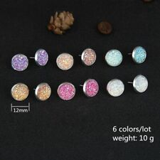 Round Stud Earrings Set Jewelry 6 Pairs Fashion Earrings Shiny Crystal