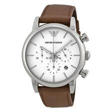 Emporio Armani Chronograph White Dial Brown Leather Mens Watch AR1846