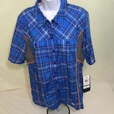 Cabela's XPG womens shirt size large electric blue plaid fishing NWT Cool Phase