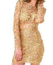 Gold One Off Stunning Crystal Mesh Rhinestone Long Sleeved Party Dress Size 8