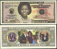 1st Lady Michelle Obama Million Dollar Bill Funny Money Novelty Note+FREE SLEEVE