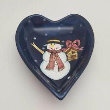 Laurie Gates Christmas Snowman Heart Shaped Ceramic Dish