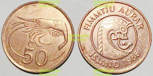 Iceland 50 Aurar 1986 Sea Monster Shrimp 19mm bronze coin AU-UNC high gade