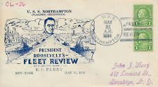 POSTAL HISTORY MILITARY NAVAL COVER - 1934 USS NORTHAMPTON PRES. ROOSEVELT REVIE