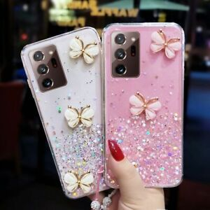 Luxury 3D Relief Butterfly Phone Case With Lanyard For Samsung S20 S21 Note 20
