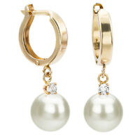 Pearl 14K Yellow Gold Earrings Snap-post 8-9mm White Freshwater & .10ctw Diamond