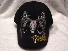PREDATOR DEER SKULL HUNT HUNTING BASEBALL CAP HAT ( BLACK )