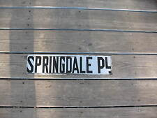 Old Original Black On White Porcelain On Steel Street Sign - SPRINGDALE PL.