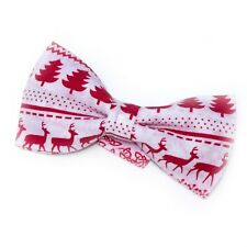Mens Christmas White Nordic Reindeer Bow Tie  CH28