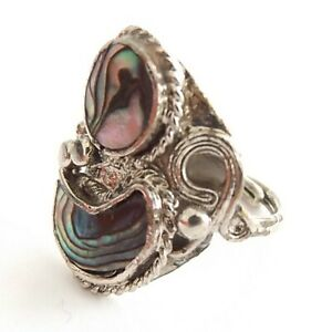 OVAL ALPACA SILVER ABALONE SHELL RING CRESCENT MOON SHAPE SHELL ADJUSTABLE SIZE
