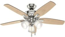 48 in LED Indoor Brushed Nickel Ceiling Fan Light Residential Dry Rated