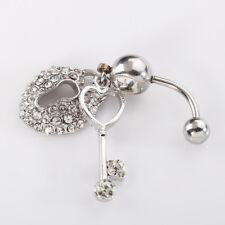 BH_ Dangle Belly Ring Navel Button Rhinestone Heart Key Barbell Bar Body Piercin