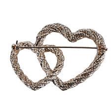 Simple Brooch Jewelry Female Trinkets Double Heart Braided Alloy Brooch Retro