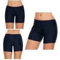Women Mid Waist Solid Swim Boyshorts Bikini Bottom Swimwear EHE8 05