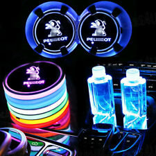 2p  Colorful Led Car Cup Holder Bottom Pad Mat Auto Atmosphere Fit For Peugeot