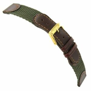 18mm Speidel Swiss Army Style Brown Nylon Olive Green Genuine Leather Watch Band