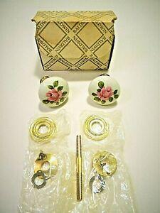NOS Baldwin Porcelain Ceramic Door Knob Kit Polished Brass Floral Pink Rose