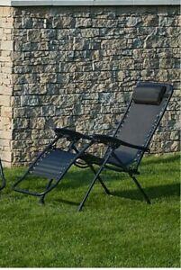1x Black Zero Gravity Lounger Sun Chair For Patio And Garden NEW