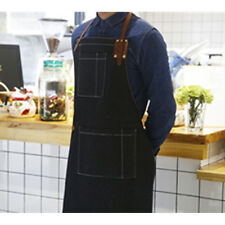Black/Blue Denim Bib Apron w/Leather Straps Barista Cafe BBQ Chef Barber Uniform