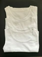 Ex Store Boys Pack of 3 White Sleeveless Vests Age  2 3 4 5 6 7 8 9 10 Years New