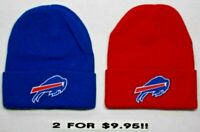 READ LISTING! Buffalo Bills HEAT Applied Flat Logos on 2 Beanie Knit Cap hat