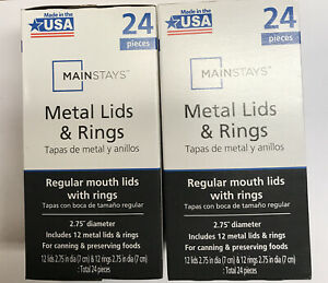 Mainstay Regular Mouth Canning Jar Lids And Bands 24 Lids And 24 Bands Total