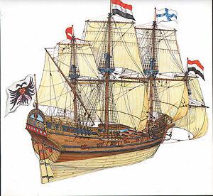 VINTAGE HISTORICAL SAILING SHIP PRINT ~ BRANDENBURG FRIGATE 1650