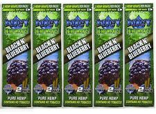 5 Packs JUICY HEMP WRAPS - BLACK N BLUEBERRY - Flavored Cigarette Rolling Papers