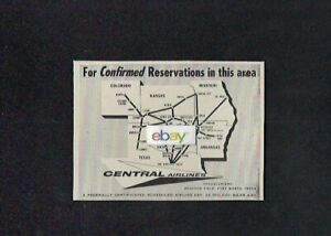 CENTRAL AIRLINES 1959 ROUTE MAP OF CONFIRMED RESERVATIONS TERRITORY AD