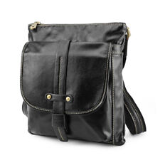 Black Mens Real Leather Casual Small Messenger Shoulder Bag Crossbody School Bag