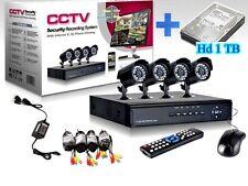 KIT VIDEOSORVEGLIANZA 4 CANALI TELECAMERA+ 1 TB HD +DVR
