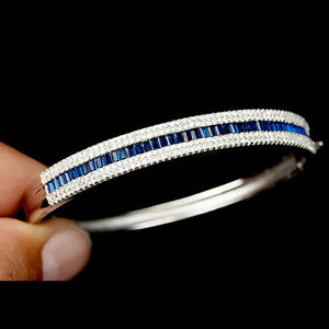 Bangle Lab Created Blue and Bright White Stones Solid Sterling Silver 6 1/2 Inch