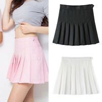Women Tennis High Waist Plain Skater Flared Pleated Short Mini Skirt Short