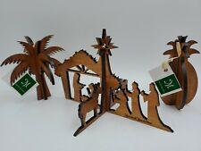 Martin & MacArthur Koa Wood Carved Cutouts Nativity Pineapple Palm Tree Hawaii