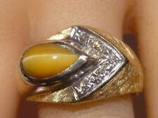 Tiger's Eye Men's Ring 14K gold Art Deco Pave Set 5 Diamonds Stamp IBG Vintage